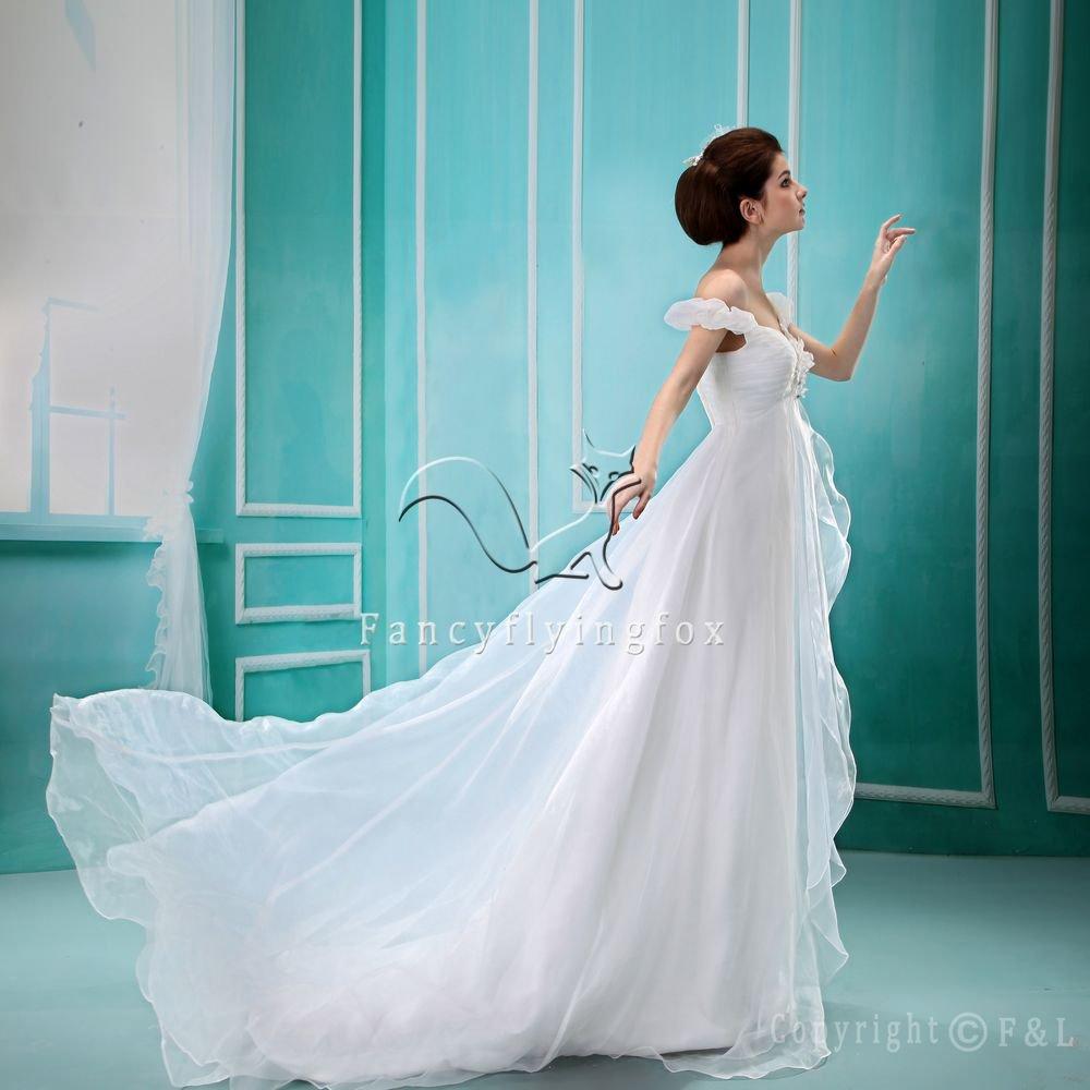 Off Shoulder Romantic Chiffon Wedding Dress PRO8