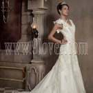 One Shoulder Wedding Dress with Lace Floral Bridal Gown 3285