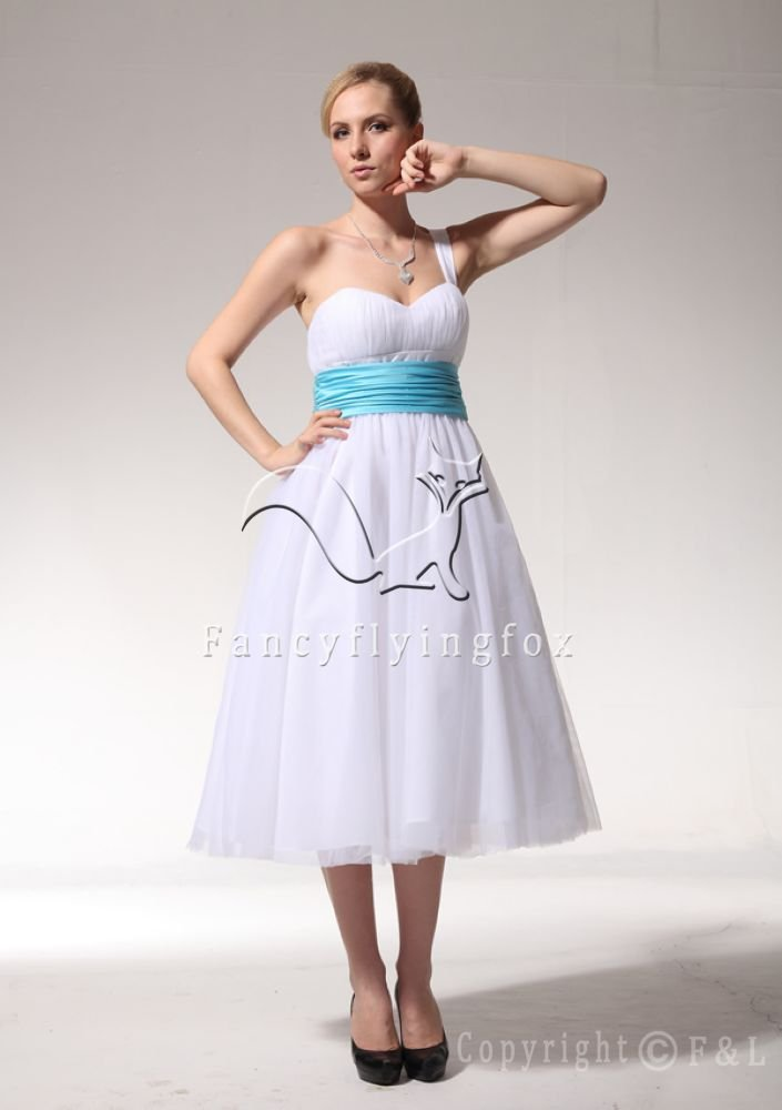 Tea-Length One Strap Tulle Gown Bridal Gown PK3367