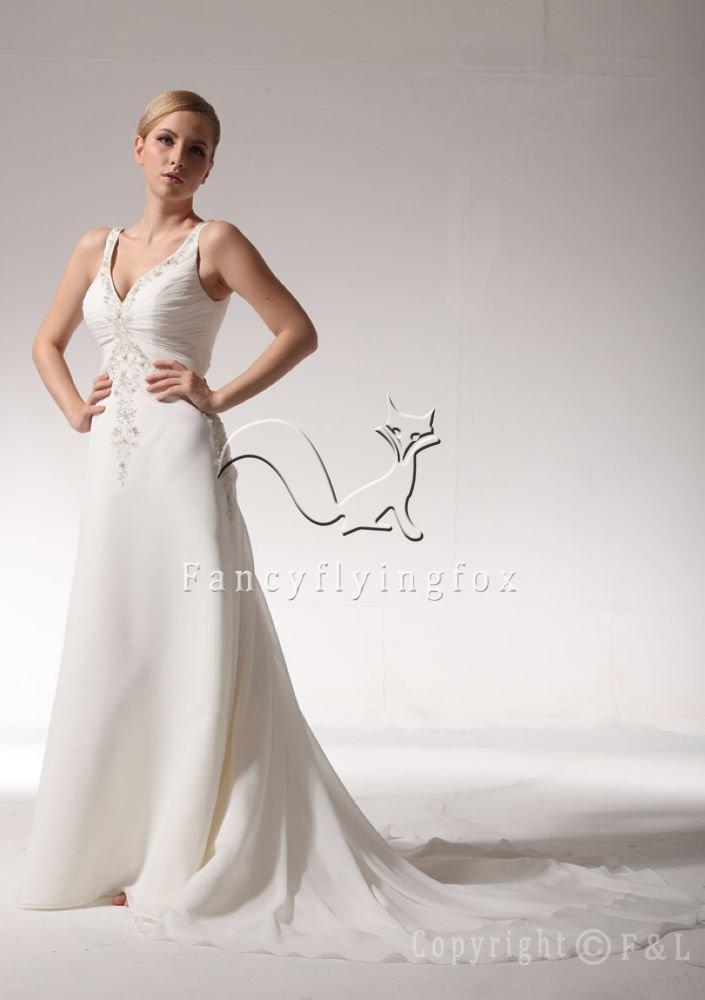Sexy V neck Elegant Embroidery Bridal Dress 9V3434