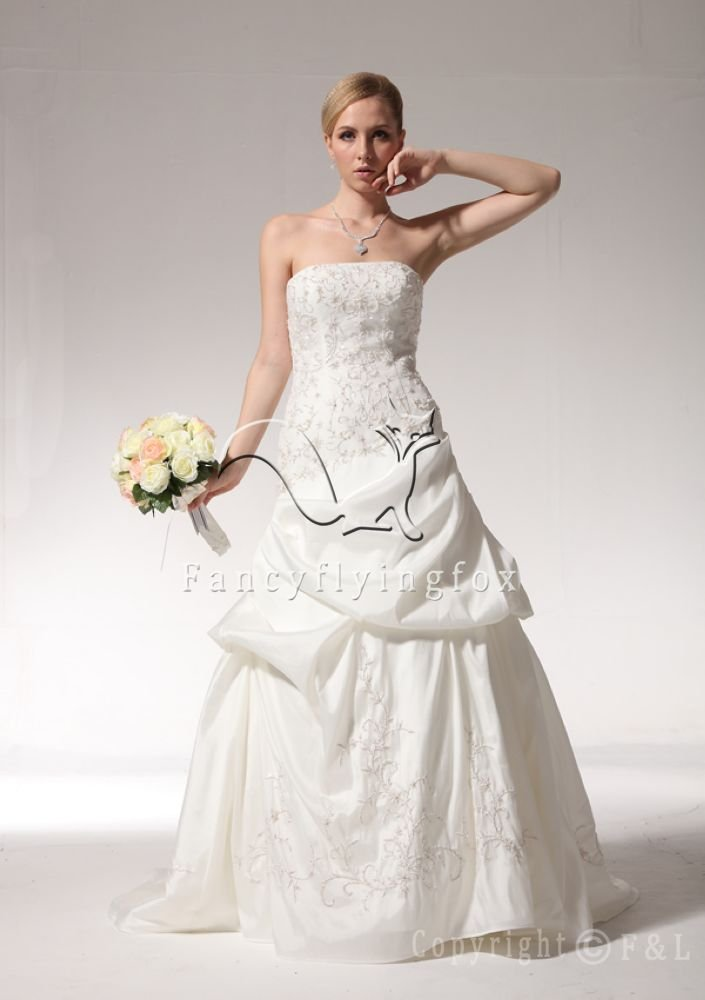 Embroidered Taffeta Cheap Wedding Dress 7NTWG9927