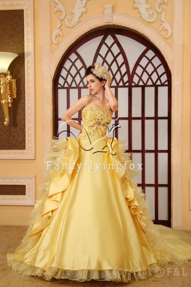 Yellow Pretty Quinceanera Dress with Train 002