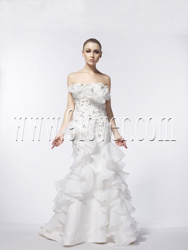 Column Chapel Train Organza Wedding Dress 5949