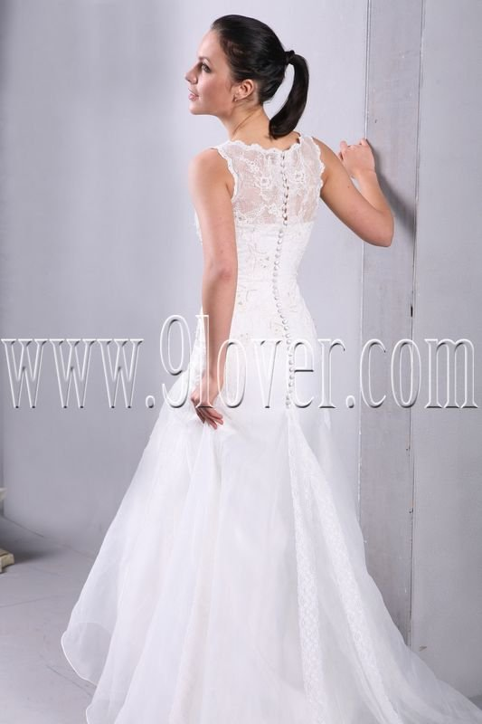 Illussion Neckline Summer Wedding Dress 00005965