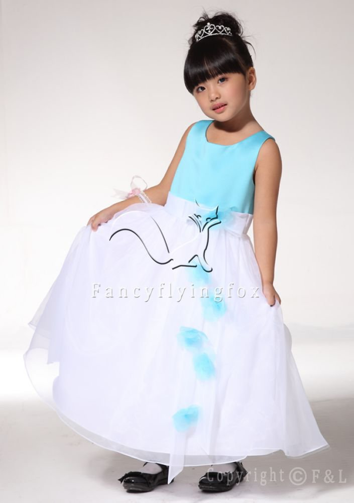 Cheap Blue and White Flower Girl Dress 017