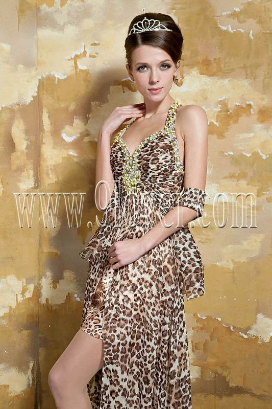Beautifully Sexy Leopard Evening Prom Dress 003