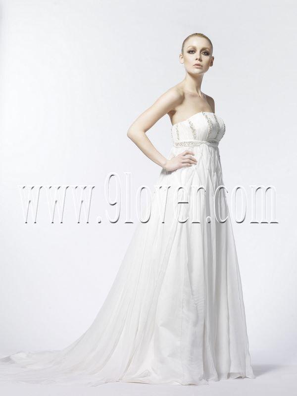 2011 Beaded Empire Romanticl Maternity Wedding Dress 181226MS