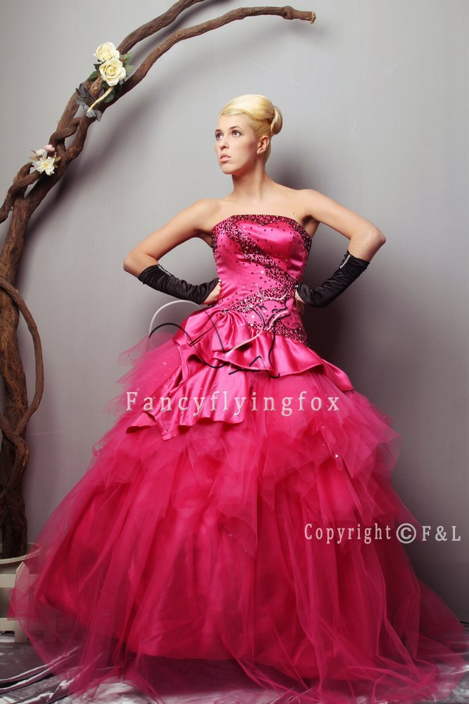 Amzaing Hot Pink Purry Quinceanera Dress 010