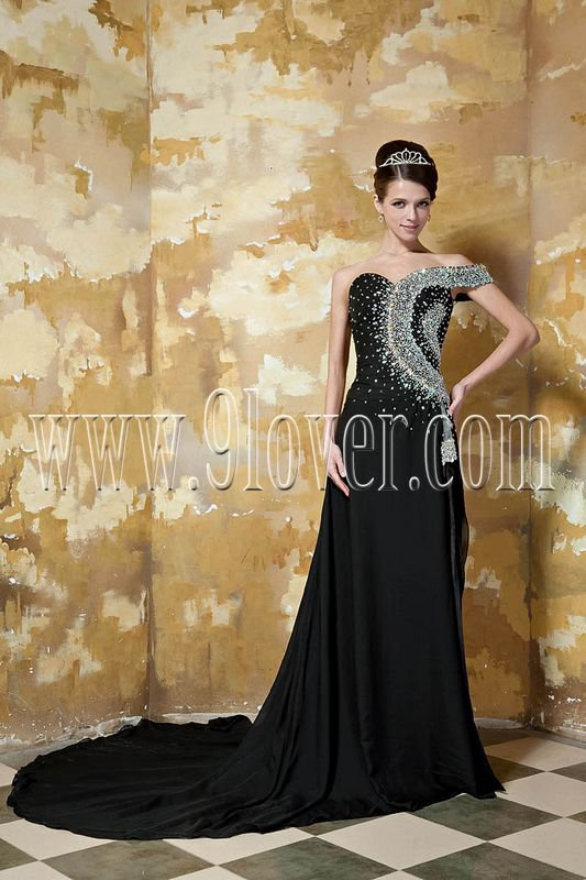 One Shoulder Beaded Black Sexy Evening Dress 2027