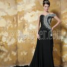One Shoulder Beaded Black Sexy Evening Dress 2027