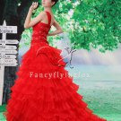 Red One Shoulder Long Princess Prom Dress A426F
