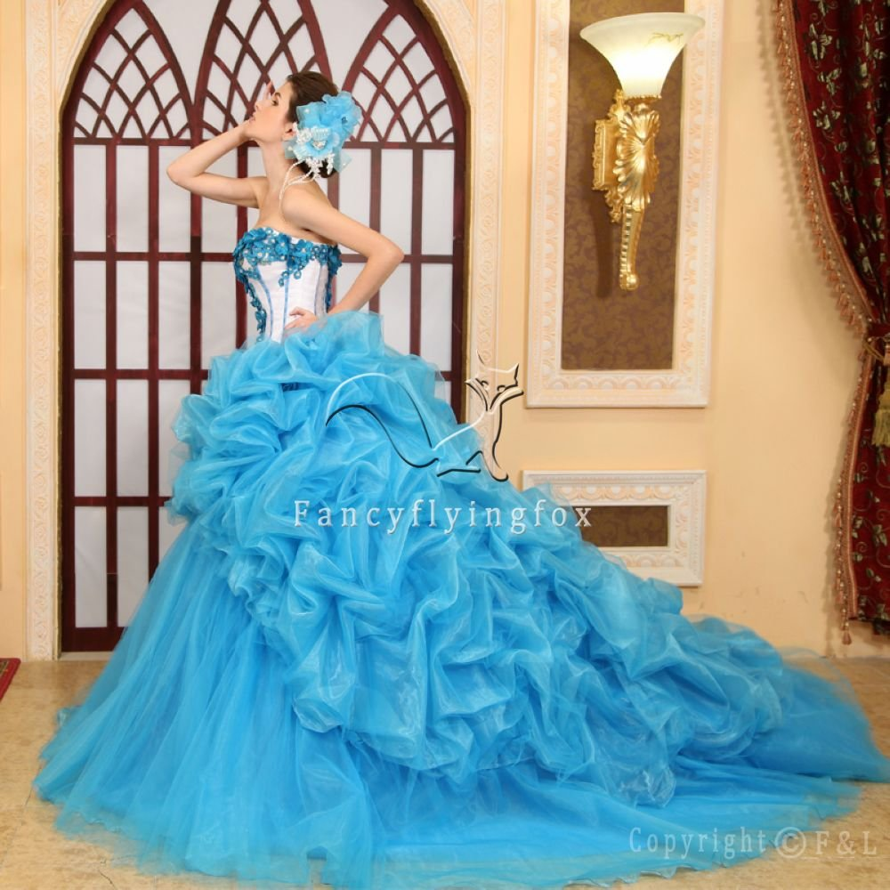 Blue and White Ruffled Quinceanera Prom Dress 3060