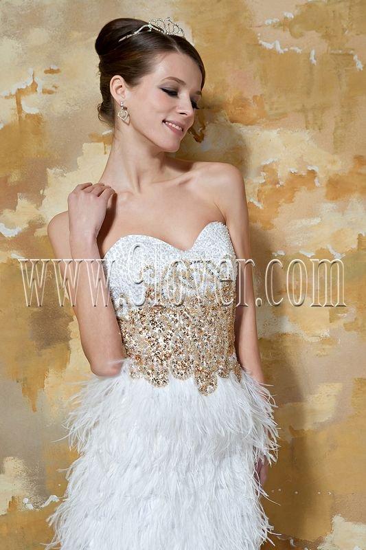 Feather Tea-length Prom Dress 3375