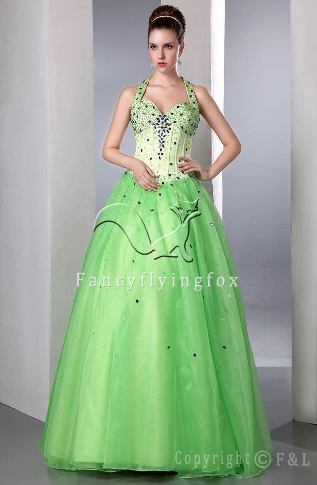 Halter Green Floor Length Formal Evening Dress LEZA