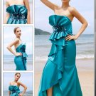 Teal Column Sexy Evening Dress 80081