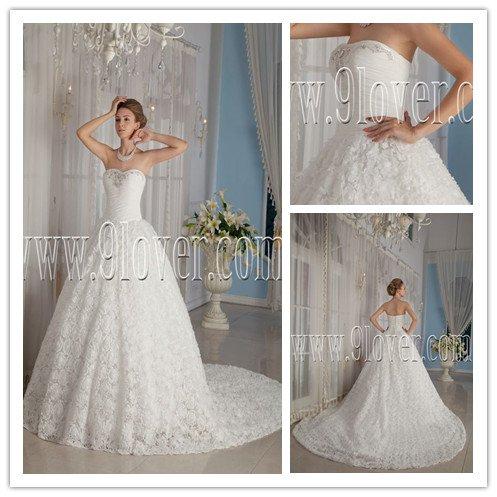 2013 luxurious and classic white net sweetehart ball gown floor length wedding dress IMG-9084