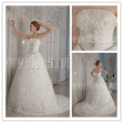 strapless 2013 white tulle ball gown floor length wedding dress with floral skirt IMG-9090