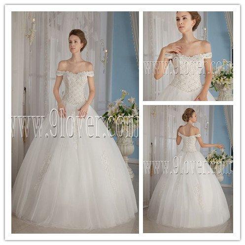 elegant white net off the shoulder ball gown floor length sleeveless wedding gowns IMG-9139