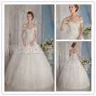 elegant white net off the shoulder ball gown floor length sleeveless wedding gowns IMG-9139