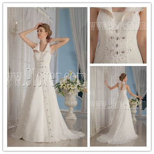 elegant 2013 ivory lace halter style a-line floor length wedding dress with strapless satin IMG-9159