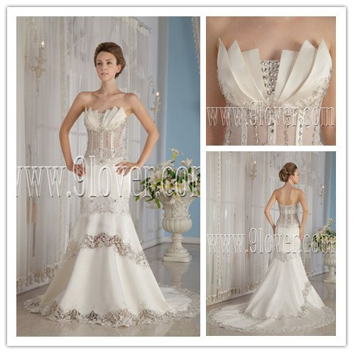 unique 2013 satin strapless trumpet wedding dress with beaded IMG-9173