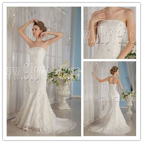 new fashion vintage 2013 white lace strapless mermaid wedding dress with beaded IMG-9187