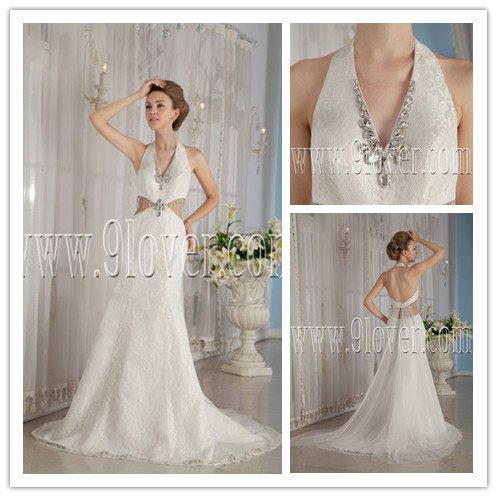 sexy 2013 halter neck a-line floor length sleeveless wedding gowns with brush train IMG-9202