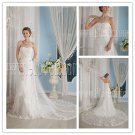 2013 modest white tulle sweetheart a-line floor length wedding dress with lace IMG-9257