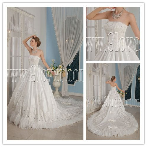 strapless white satin ball gown floor length wedding dress with royal train IMG-9289