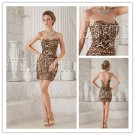 sexy leopard satin strapless sheath mini length short evening dress IMG-9883