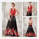 bohemian satin halter style a-line floor length evening dress with printed flowers IMG-9923