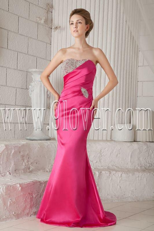 fuchsia satin strapless a-line floor length bridemaid dress with beaded neckline IMG-9440