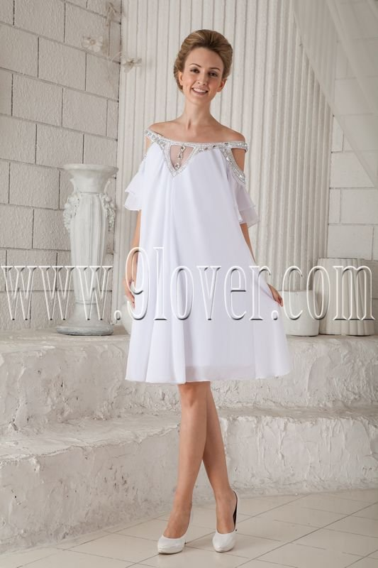 elegant white chiffon off the shoulder a-line mini length homecoming dress with beaded neck IMG-9801