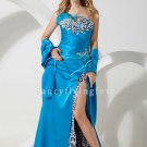 sexy blue satin strapless a-line floor length evening dress with split skirt IMG-1409