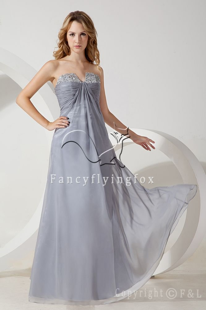 elegant silver chiffon empire maternity evening dress with beaded IMG-1438