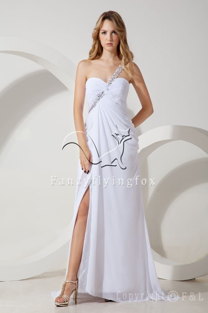 sexy summer skirt white chiffon one shoulder a-line floor length evening gowns with split IMG-1465