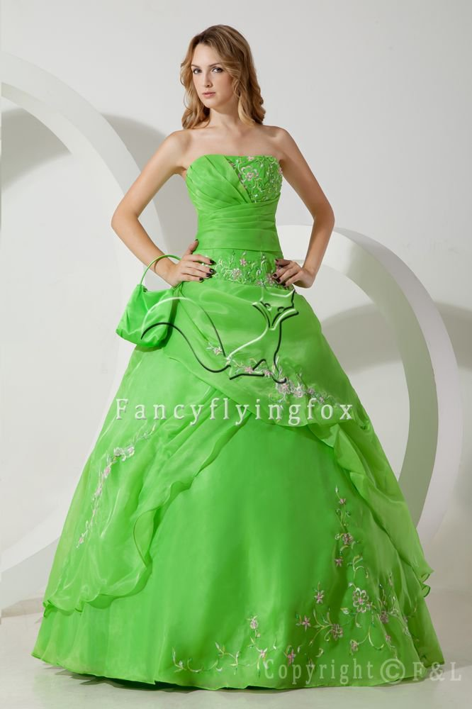 vintage organza strapless ball gown floor length quinceanera dress with embroidered IMG-1480
