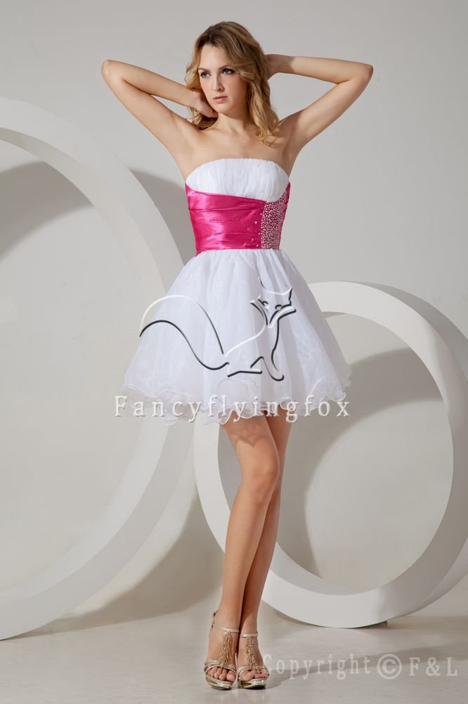 charming white and fuchsia tulle strapless a-line mini length short prom dress IMG-1494