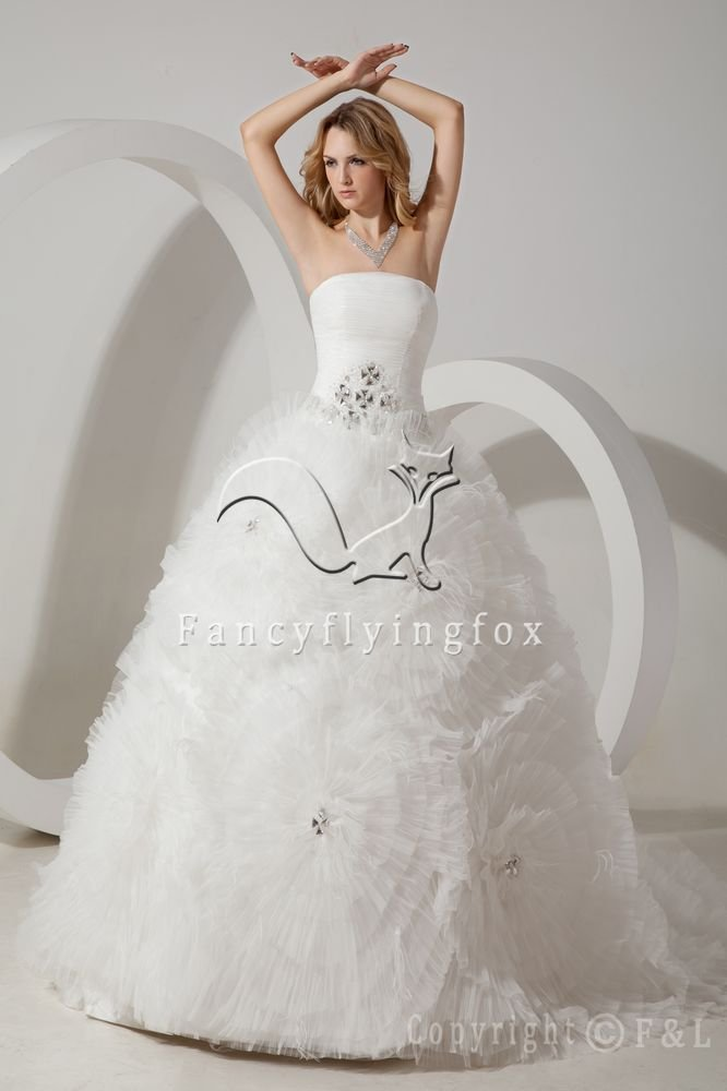 strapless white tulle ball gown floral wedding dress IMG-1508