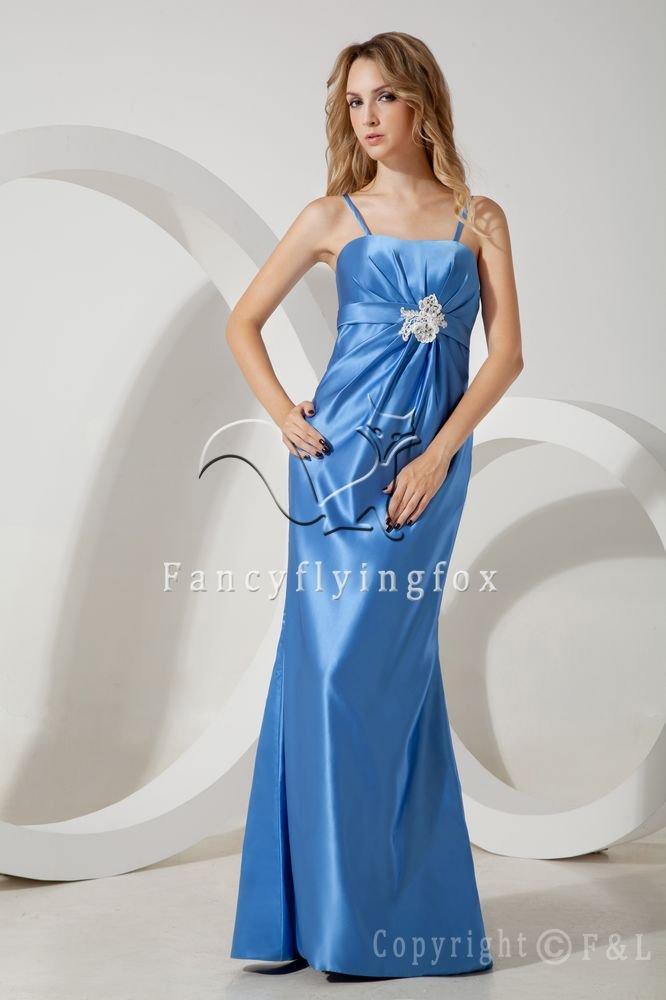 modern sky blue satin spaghetti straps a-line floor length bridemaid dress with ruched bust IMG-1553