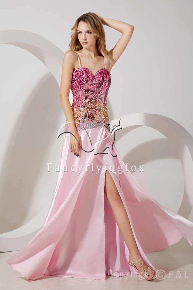 modern and sexy spaghetti straps a-line floor length evening dress with sequined bodice IMG-1564
