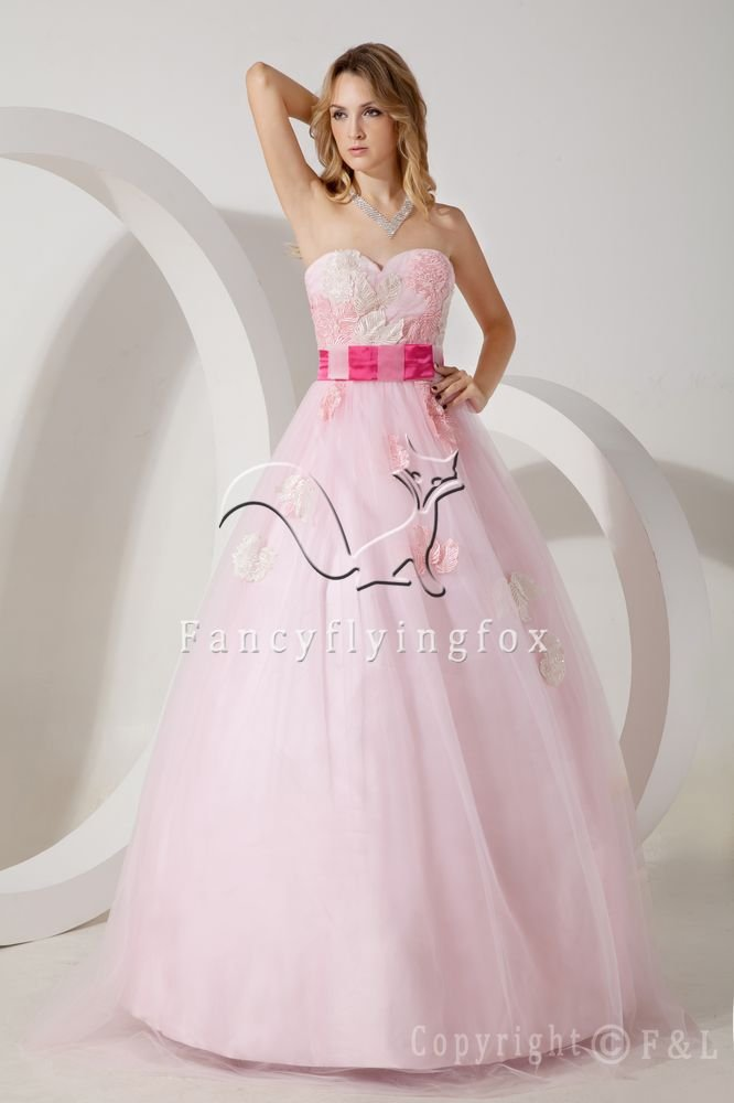 modern hot pink tulle strapless ball gown floor length quinceanera dress with appliques IMG-1584