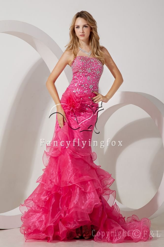 luxurious fuchsia organza strapless a-line floor length prom dress with ruffled skirt IMG-1602