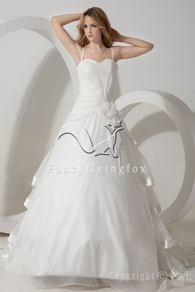 classic and modern white tulle spaghetti straps ball gown floor length wedding dress IMG-1655