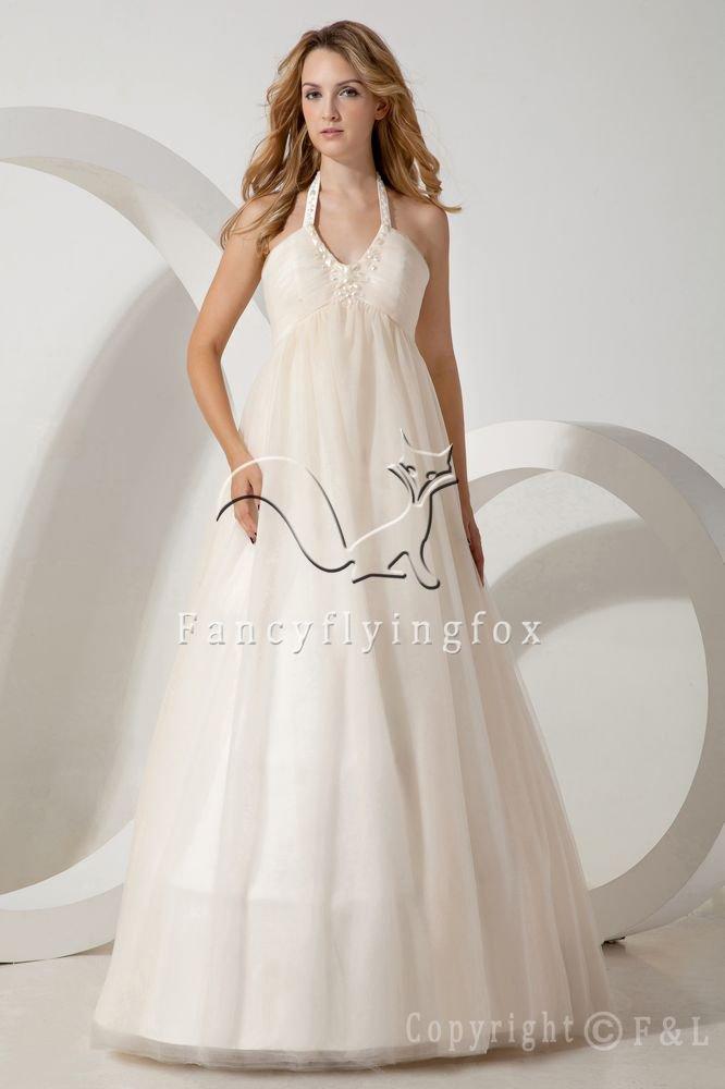 vintage ivory tulle halter neck empire wedding dress with beaded neckline IMG-1699