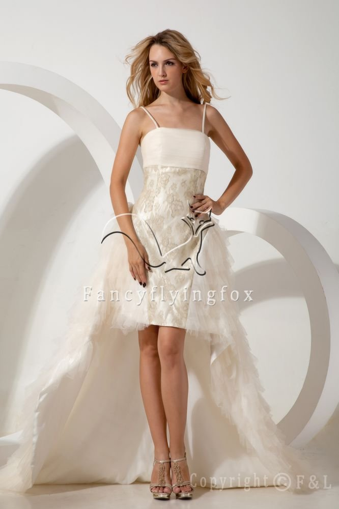 sexy spaghetti straps a-line mini length cocktail dress with brush train IMG-1710