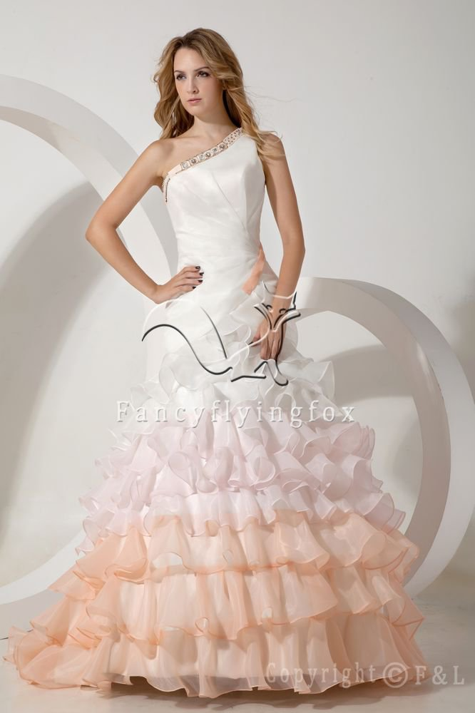 newest deisgn one shoulder ball gown floor length quinceanera dress with ruffles skirt IMG-1722