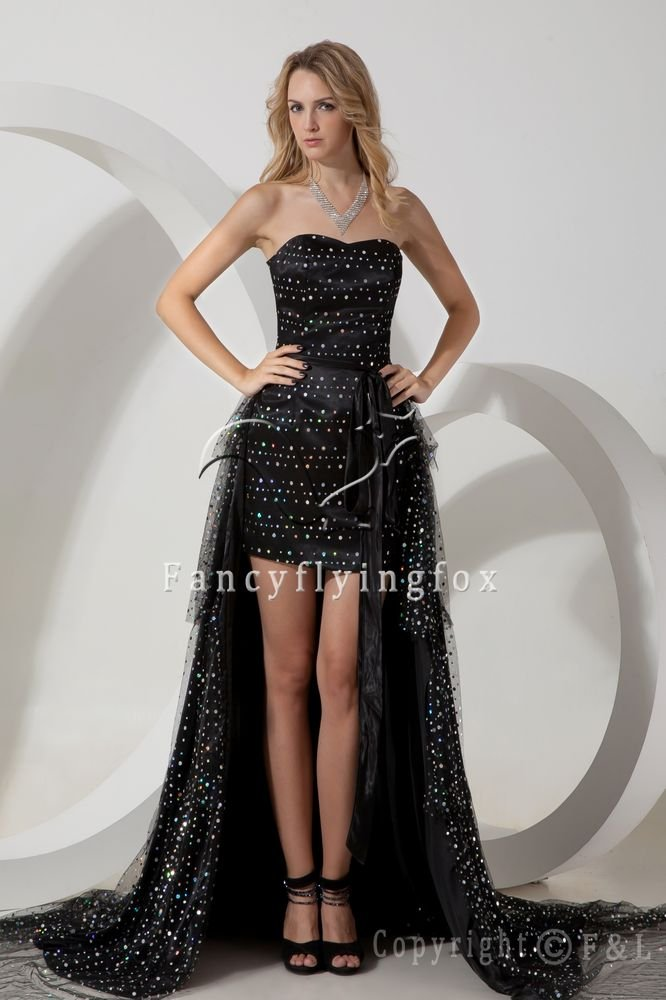 modern black satin strapless a-line mini length cocktail dress with beaded IMG-1821