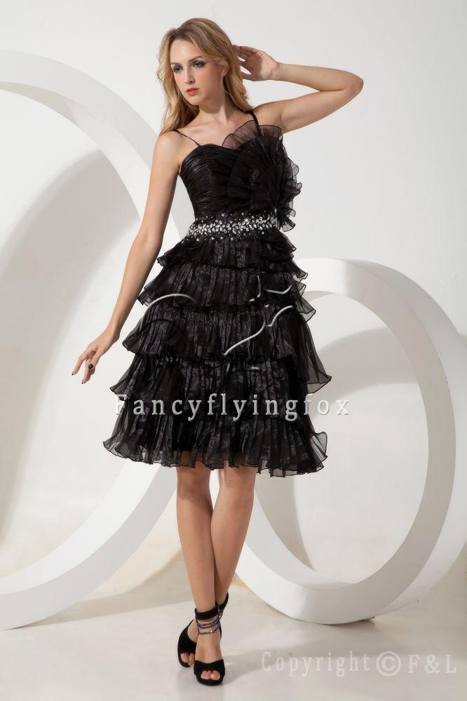 modern and elegant black spaghetti straps a-line mini length short prom dress IMG-1858