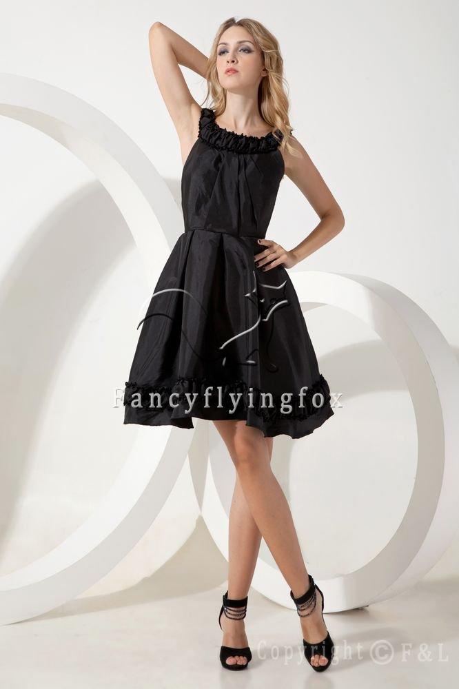 elegant black taffeta straps a-line knee length short evening dress IMG-1886